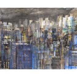 Gottfried Salzmann - New-York Blue I - Aquarelle sur papier - 48x60cm - 2018